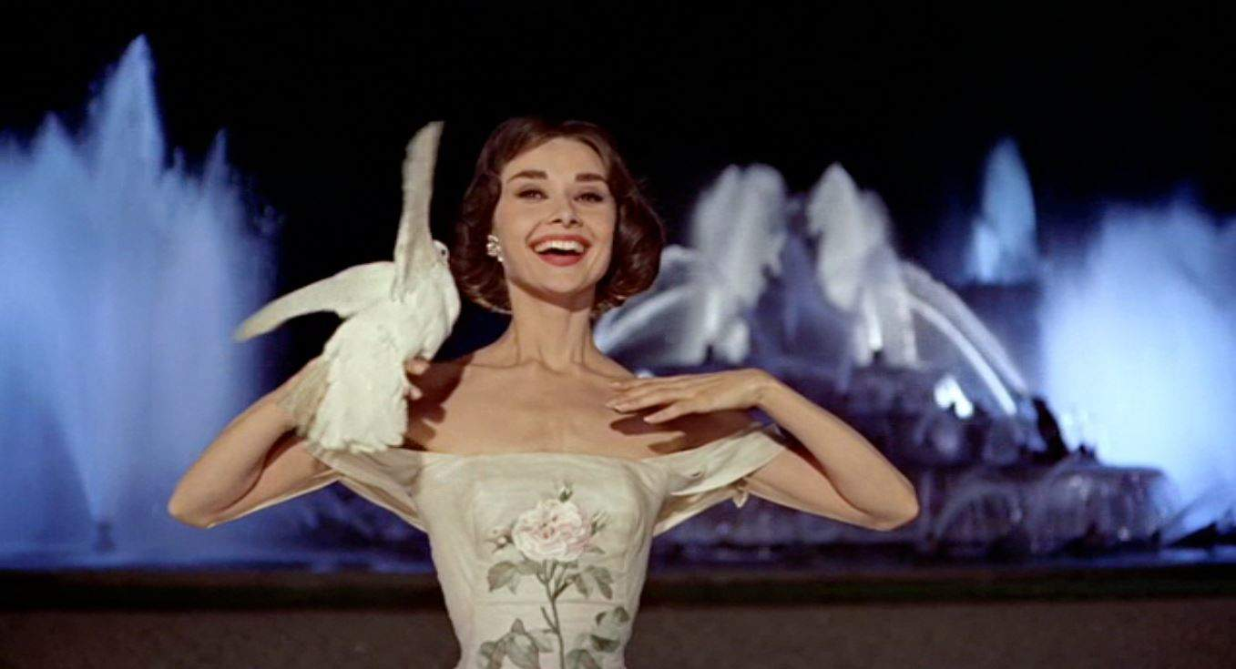 Audrey Hepburn Funny Face holding a Dove