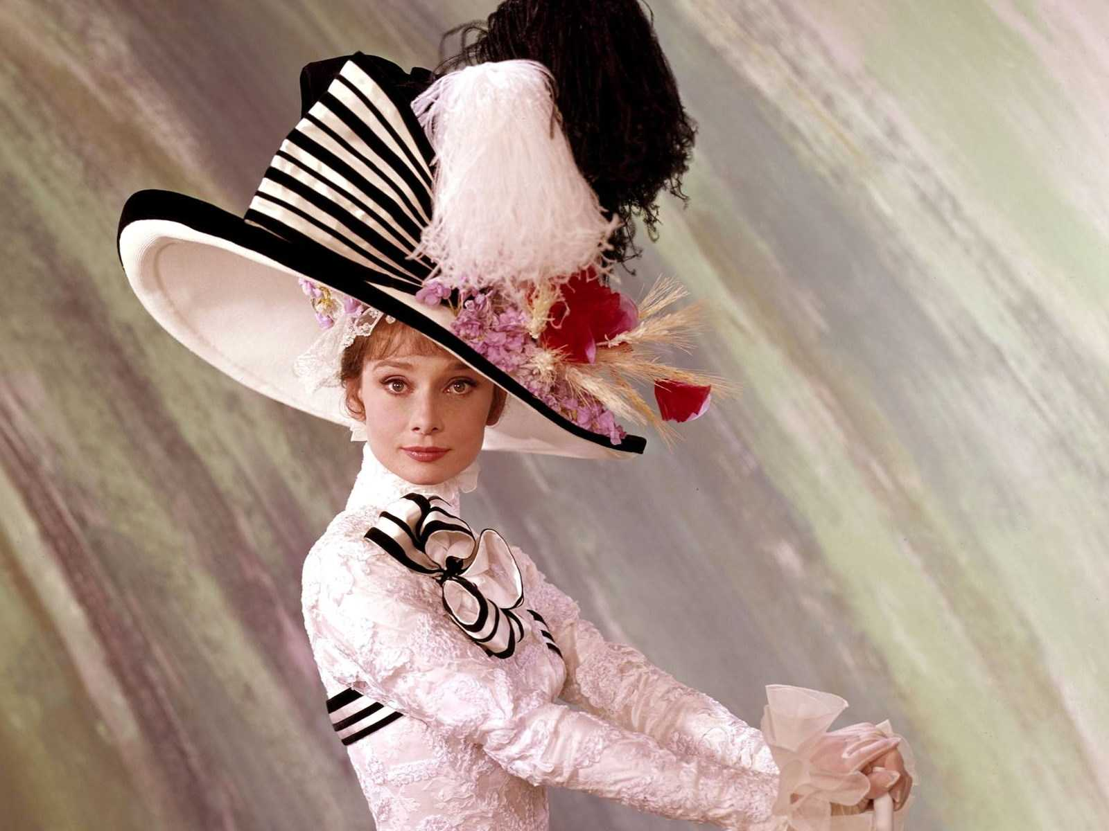 Audrey Hepburn Hats - white and black full brim hat