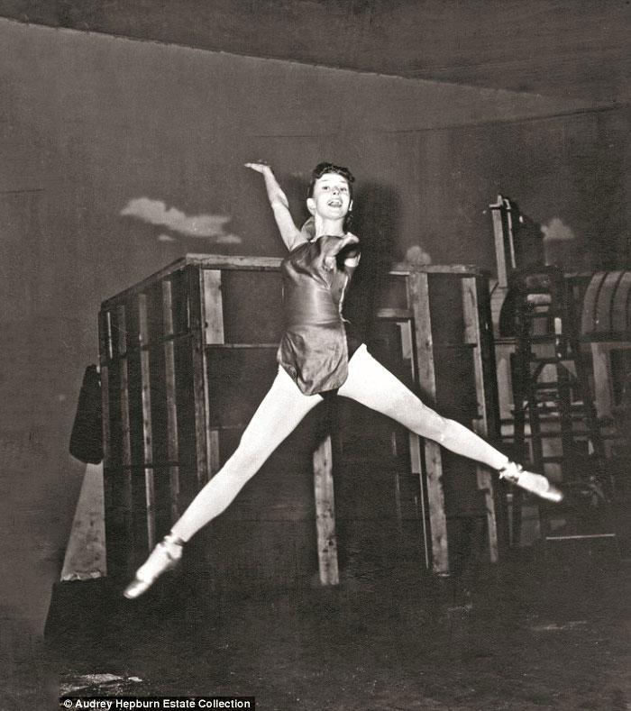 Audrey Hepburn ballet jump in the air
