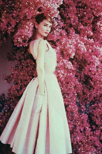 Audrey Hepburn Poster - Pink Flowers