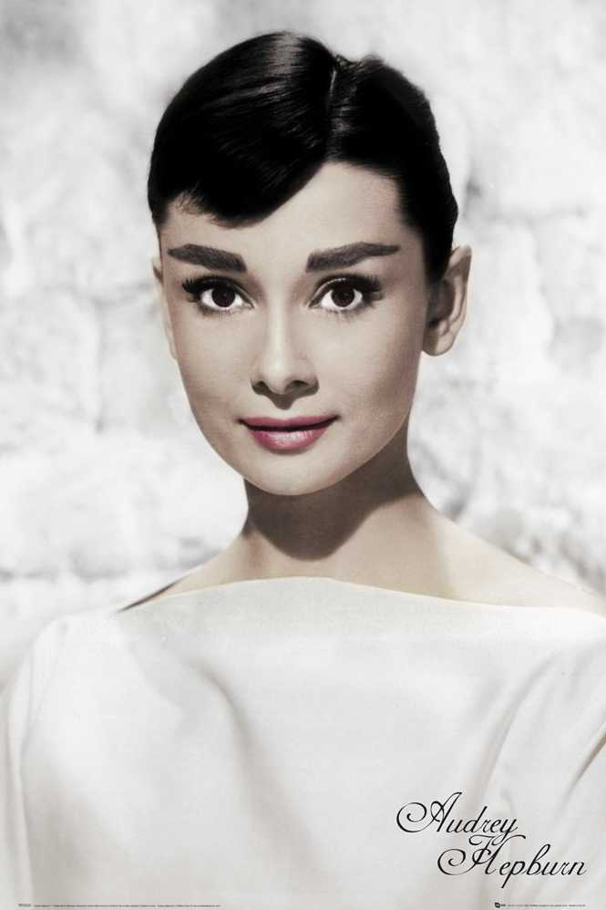 Audrey Hepburn Poster Print White