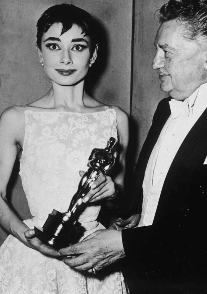 Audrey Hepburn Holding Oscar Trophy