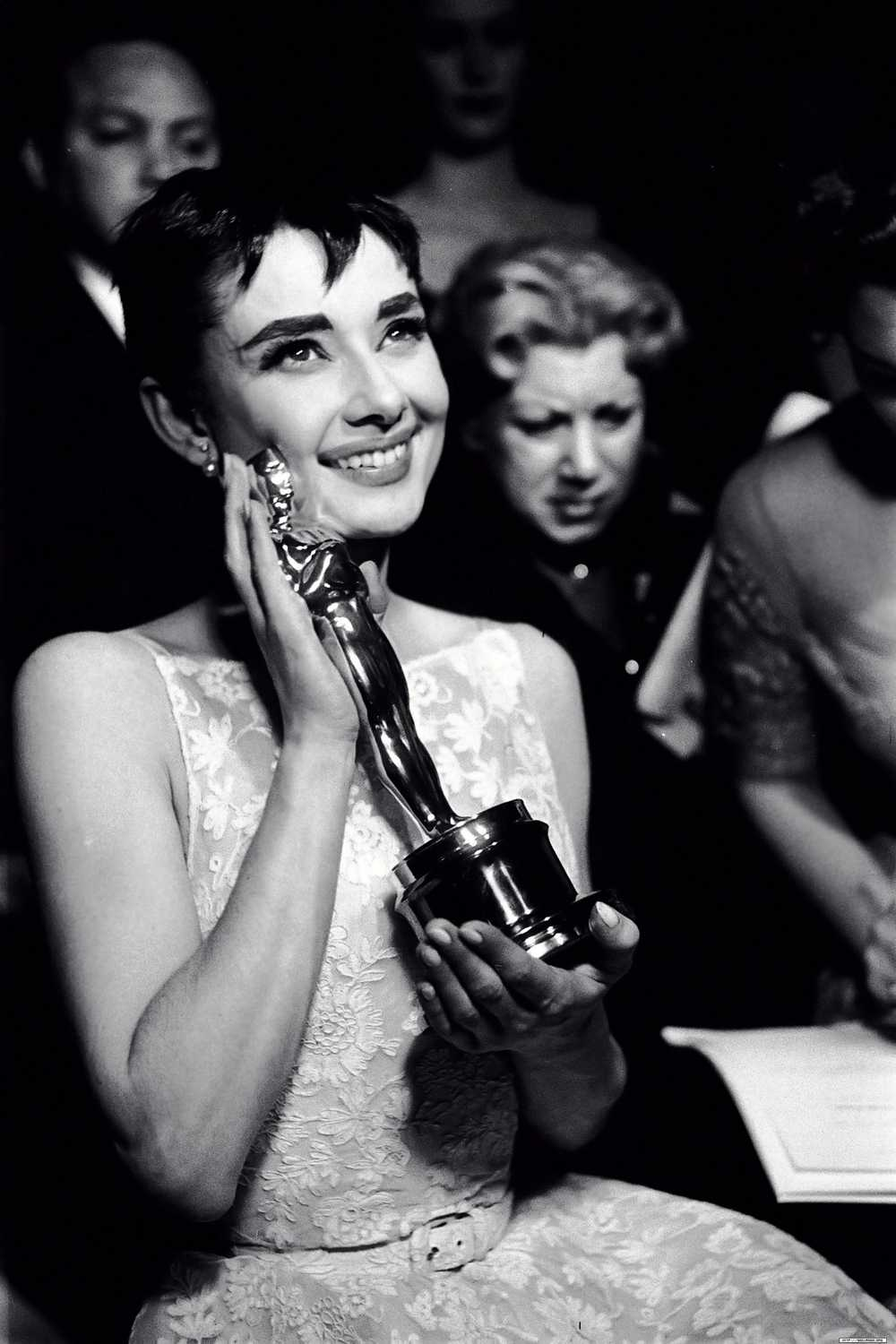 Audrey Hepburn with her Oscar and Dress