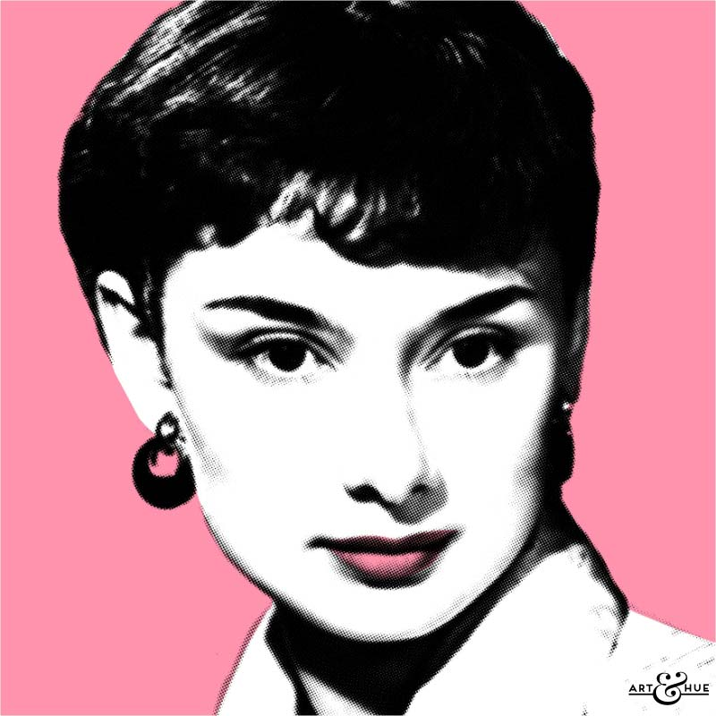 Audrey Hepburn Pop Art - PINK background