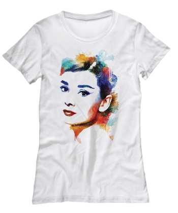 water color T shirt of Audrey Hepburn