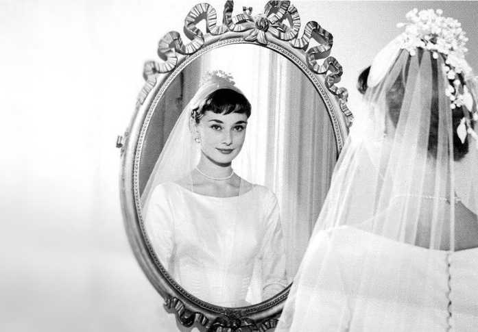Audrey Hepburn wedding dress #1 standing in Mirror
